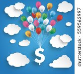 paper clouds and hanging dollar ...   Shutterstock .eps vector #559563997