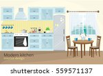 illustration of modern kitchen... | Shutterstock .eps vector #559571137
