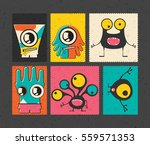 set of six retro postage s... | Shutterstock .eps vector #559571353