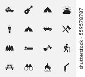 set of 16 editable camping... | Shutterstock .eps vector #559578787