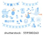 boy baby shower design elements.... | Shutterstock .eps vector #559580263