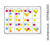 whiteboard with post it notes... | Shutterstock .eps vector #559586203