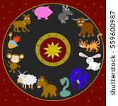 the twelve animals of horoscope ... | Shutterstock . vector #559600987