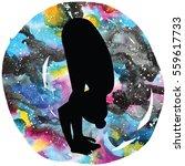 women silhouette on galaxy...   Shutterstock .eps vector #559617733
