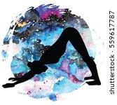 women silhouette on galaxy...   Shutterstock .eps vector #559617787