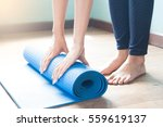 young woman yoga at home ... | Shutterstock . vector #559619137