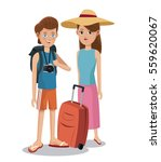travel couple tourist vacation... | Shutterstock .eps vector #559620067