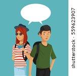 teens boy and girl talking... | Shutterstock .eps vector #559623907