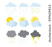 set of weather icons vector. | Shutterstock .eps vector #559639813