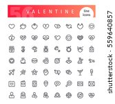 set of 56 valentines days line... | Shutterstock .eps vector #559640857