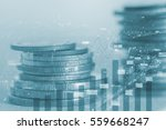 double exposure coins with... | Shutterstock . vector #559668247