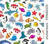 Sea And Ocean Animals Seamless...