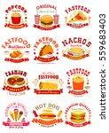 fast food emblems. popcorn ... | Shutterstock .eps vector #559683403