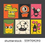 set of six retro postage s... | Shutterstock .eps vector #559709293