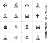 set of 16 simple religion icons.... | Shutterstock . vector #559753057