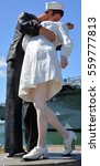 Small photo of SAN DIEGO USA APRIL 8 2015: Unconditional Surrender sculpture at sea port in San Diego. By Seward Johnson, the statue resembles the photograph of Alfred Eisenstaedt of VJ day in Times Square New York