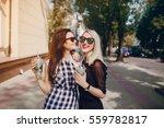 models walk the city  enjoy the ... | Shutterstock . vector #559782817
