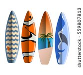 set of surfboards on white... | Shutterstock .eps vector #559807813