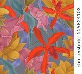 seamless tropical flower  plant ... | Shutterstock . vector #559824103