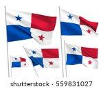 panama vector flags set. 5 wavy ...