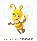 cute bee with wooden dipper... | Shutterstock .eps vector #559836253