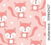 seamless fox pattern vector... | Shutterstock .eps vector #559842427
