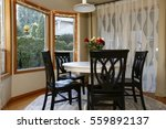 Dining Room With Curved Window...