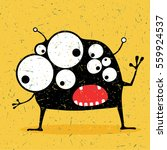cute black monster with... | Shutterstock .eps vector #559924537