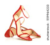 high heels sandals in shiny red ... | Shutterstock . vector #559964233