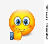 cute emoticon with thumb up ... | Shutterstock .eps vector #559967383