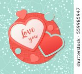 pink and blue paper hearts with ... | Shutterstock .eps vector #559985947