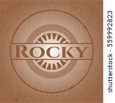 rocky badge with wood background | Shutterstock .eps vector #559992823