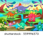 group of funny dinosaurs in a... | Shutterstock .eps vector #559996573