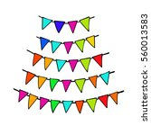 multicolored bright buntings...   Shutterstock .eps vector #560013583