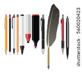 set of pens and pencils for...