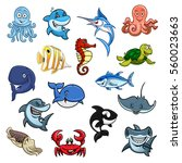 cartoon sea animals. vector... | Shutterstock .eps vector #560023663