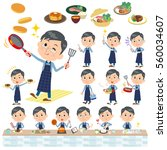 set of various poses of blue... | Shutterstock .eps vector #560034607