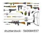 flat weapons collection vector. ...