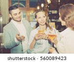 casual acquaintance of smiling... | Shutterstock . vector #560089423
