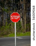 stop sign on the road | Shutterstock . vector #56009068