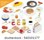 breakfast and kitchen equipment ... | Shutterstock .eps vector #560101177
