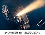 Film Projector On A Wooden...
