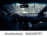 Driving A Car On Winter Road....
