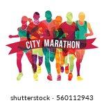 running marathon  people run ... | Shutterstock .eps vector #560112943