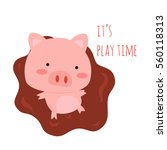 cute little pig playing in the... | Shutterstock .eps vector #560118313