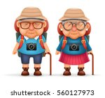 old backpacker couple photo... | Shutterstock .eps vector #560127973
