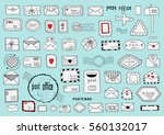 color set of hand drawn sketchy ... | Shutterstock .eps vector #560132017