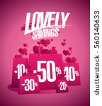 lovely savings  valentine s day ... | Shutterstock .eps vector #560140633