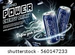 energy drink contained in dark blue can, with current element surrounds, black background, 3d illustration | Shutterstock vector #560147233