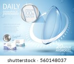 soft contact lenses ad  with... | Shutterstock .eps vector #560148037